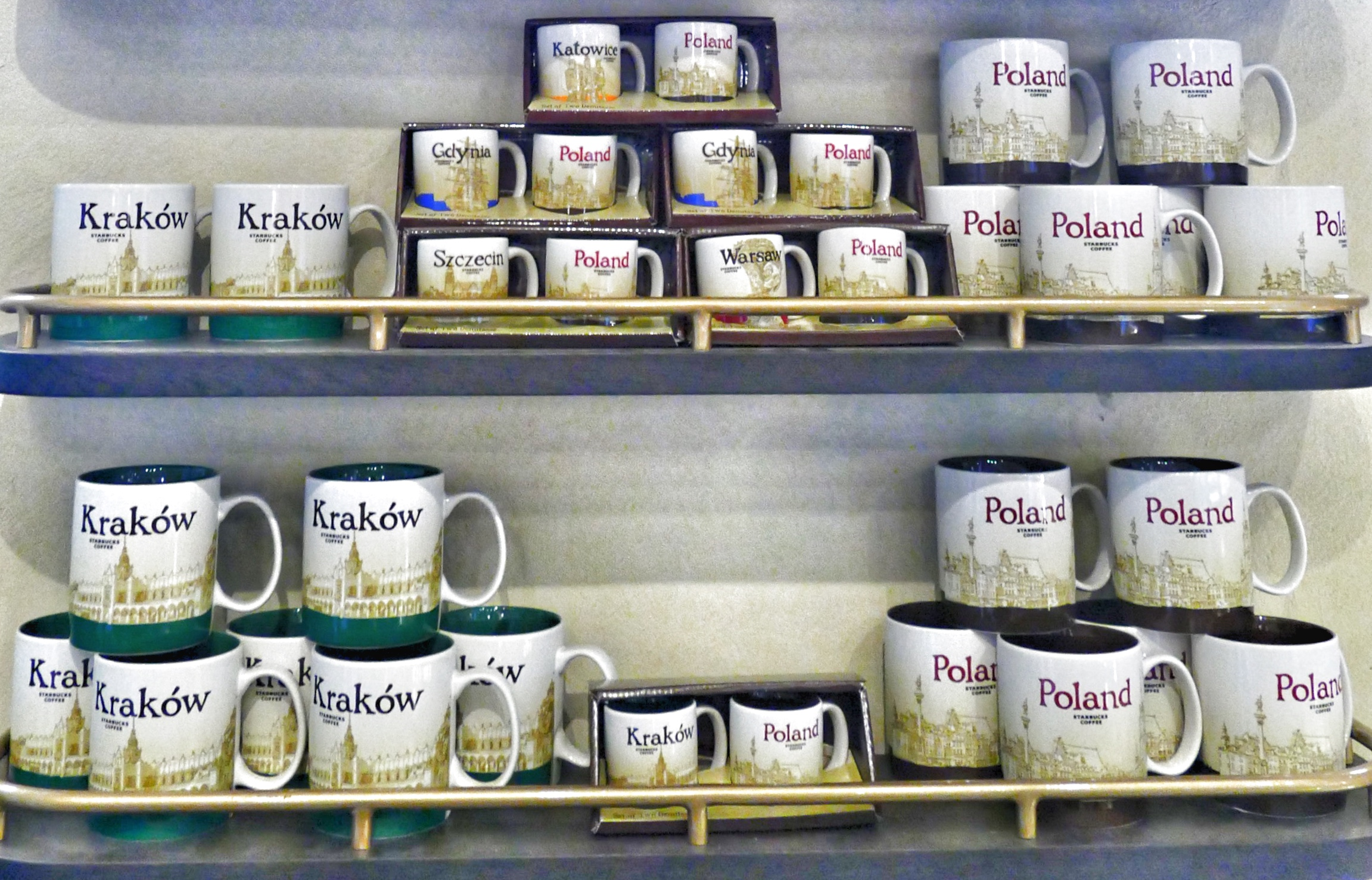 Starbucks coffee mugs in Krakow